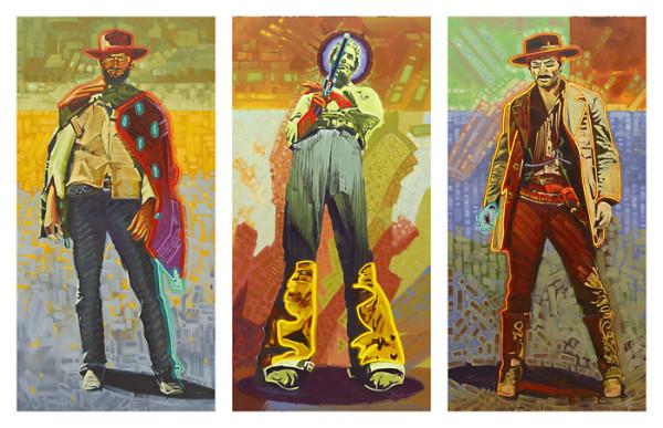 Michael Blessing, Neon Gunslinger - Triptych