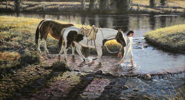 Larry Zabel, Indian Maiden Leading Horses