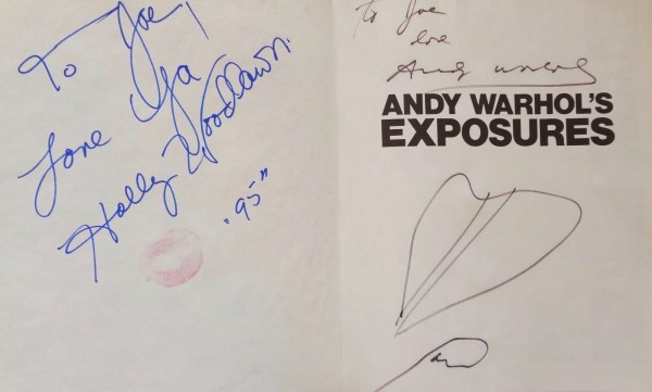 Andy Warhol, Andy Warhol´s Exposures signed by Warhol, Joe Dalessandro & Holly Woodlawn. With drawings by Warhol and lipstick kiss by Woodlawn.