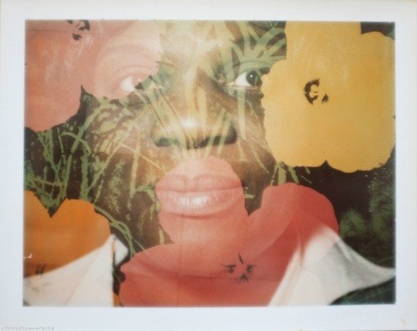 Unique Andy Warhol flower double exposure polaroid portrait, 1970