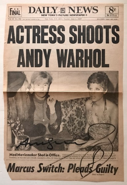 Andy Warhol, Frontpahe of Daily News - Actress shoots Andy Warhol, SIGNED, 1968