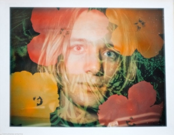 Unique Andy Warhol flower double exposure polaroid portrait., 1970