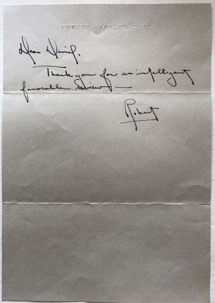 Robert Mapplethorpe, Letter to David Bourdon/c/o Arts Magazine, 1977