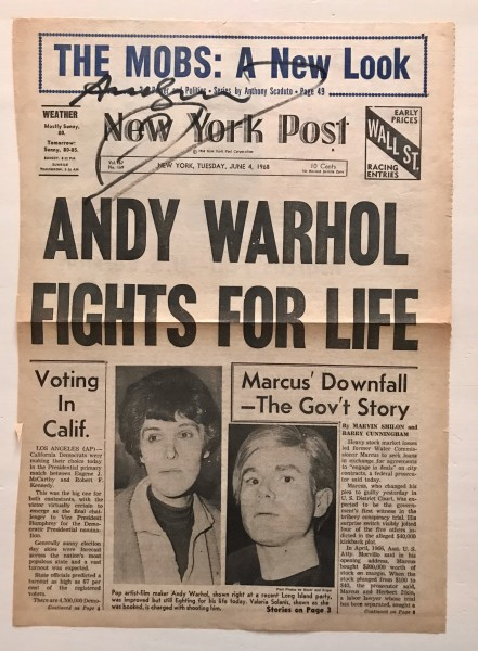 Andy Warhol, Signed front page of New York Post - Andy Warhol fights for life., 1968