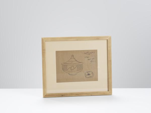 Bernard Leach, Signed Sketch of a Lidded Pot