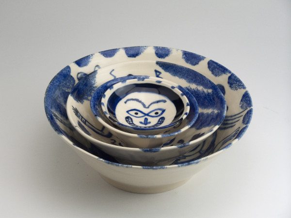 Stephen Bird, Blue and White set of 4 Bowls, 2018