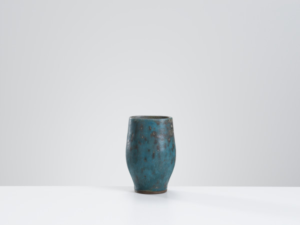 Lucie Rie, Vase with mottled turquoise & grey glaze