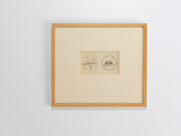 Bernard Leach, Ink Drawing 'design for two dishes'