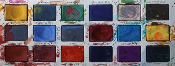 Javier Banegas  Paint Box, 2016  Oil on board  53.5 x 140 cm