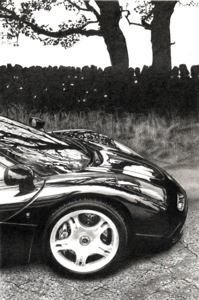 Roger Watt  McLaren F1  Graphite on Bristol board  Unframed - 14 x 9.5 cm Framed - 39.5 x 34.5 cm