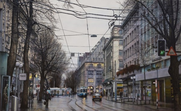 Andres Castellanos BahnhofStrasse Acrylic on canvas 162 x 100 cm