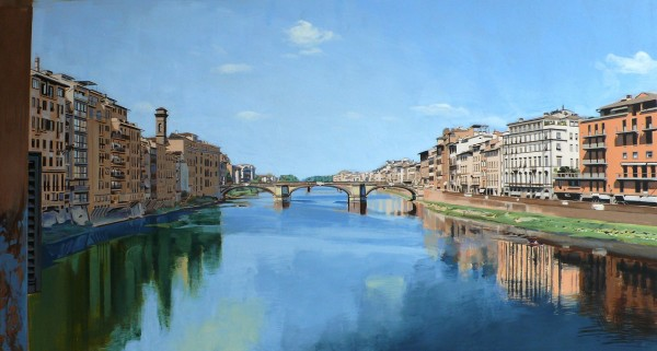 David Wheeler Study: View of the River Arno from Ponte Vecchio Bridge, Florence Acrylic on paper 10 x 22 inches 25.5 x 56 cm