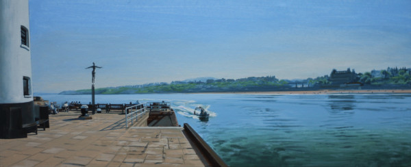 David Wheeler Study for The Diving Belle Overlooking South Bay, Scarborough (Mid Afternoon) Acrylic on paper 13 x 31 cm
