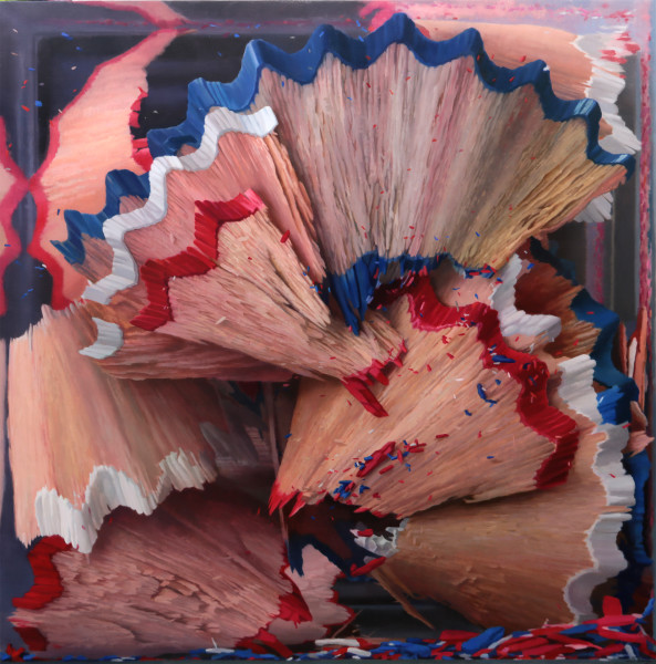 Javier Banegas, Shavings Red, Blue and White, 2018