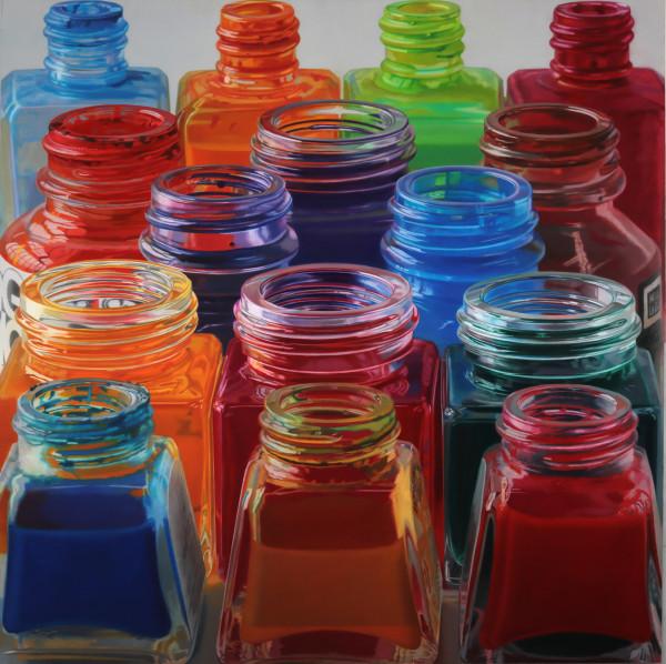 Javier Banegas Fifteen Colours Oil on board 110 x 110 cm