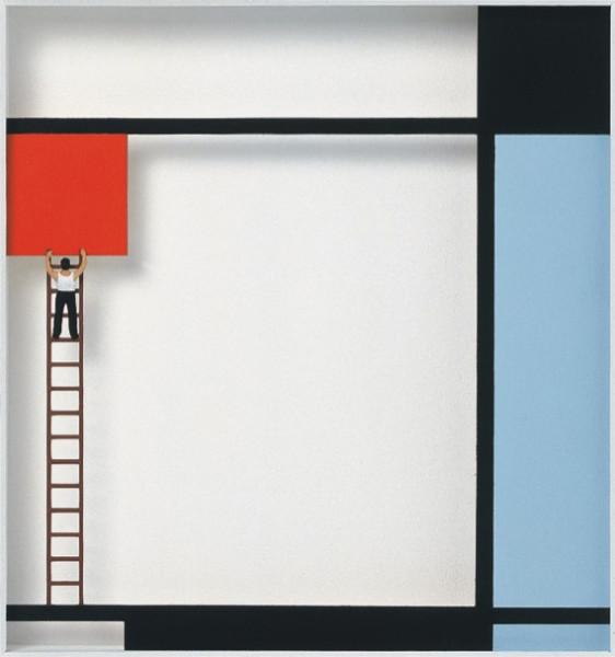 Volker Kuhn, Homage to Piet Mondrian 'Mondrian at work'