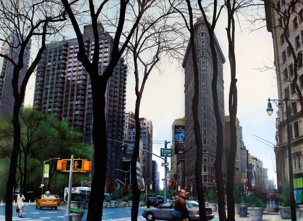 Andres Castellanos Flatiron Building Acrylic on board 73 x 100 cm