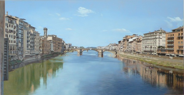David Wheeler, View of the River Arno from Ponte Vecchio Bridge, Florence