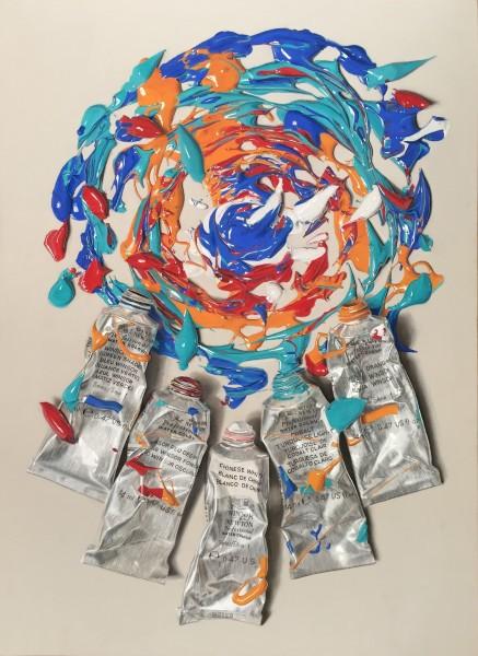 Nourine Hammad Chaos 3, Swirl Mixed Media 112 x 81.5 cm