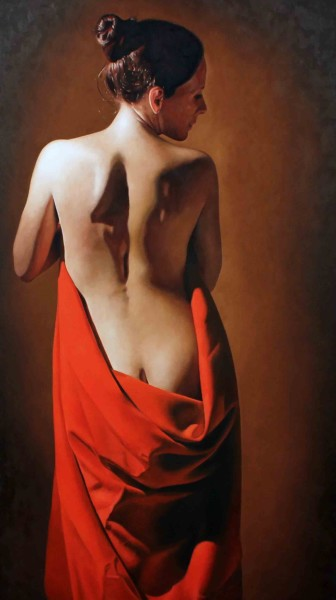 Girl With Red Drape