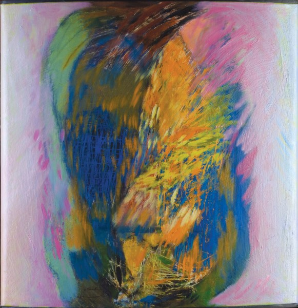 Rashid Al Khalifa, A Fusion of Hues in Blue, Orange and Pink I, 2006