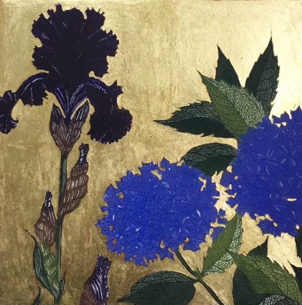 Jean Bardon, Dark Iris & Blue Hydrangea