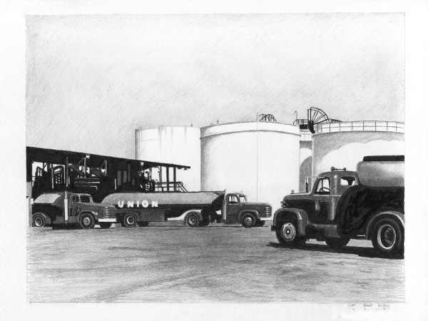 Joel Daniel Phillips, Union Oil Trucks Parked At A Refinery, 2018