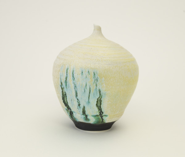 Hugh West, Bottle Vase Open Green Cracks