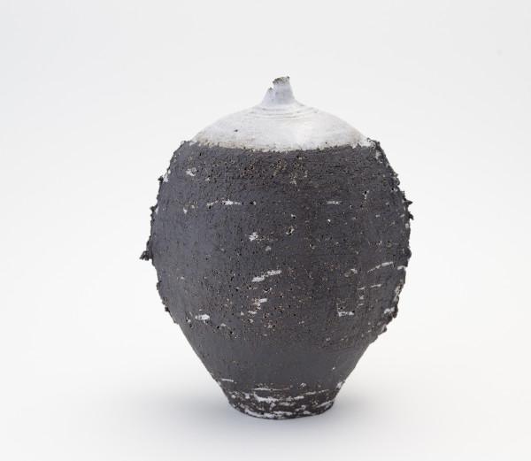 Hugh West, Black Oval White Glazed Bottle Vase