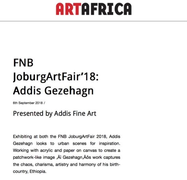 FNB Joburg Art Fair'18: Addis Gezehagn