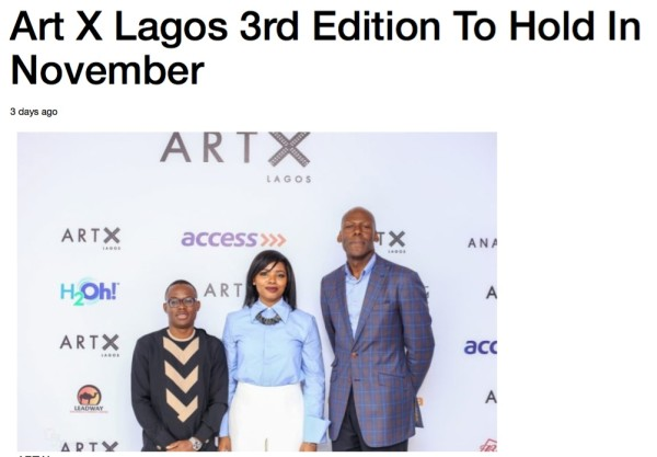 Art X Lagos 3rd Edition To Hold In November | PM NEWS Nigeria | Image