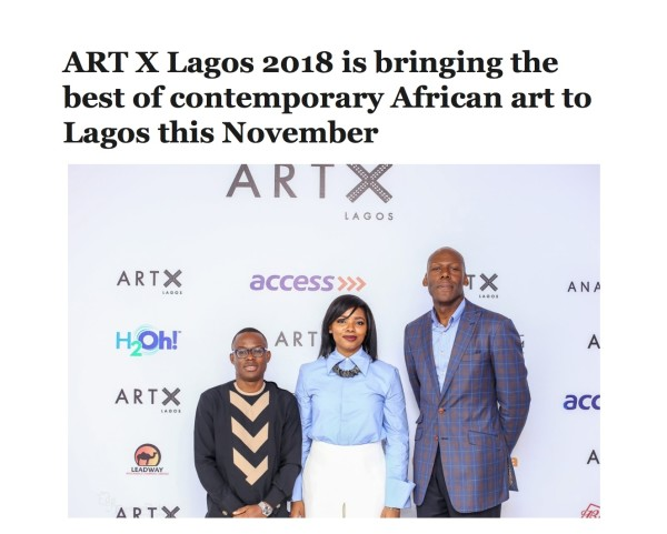 ART X Lagos 2018 is bringing the best of contemporary African art to Lagos this November | Ventures | Image