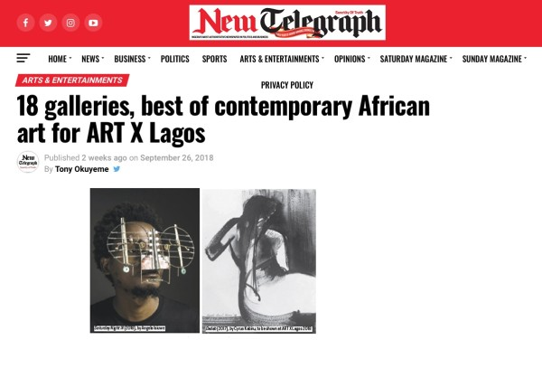 18 galleries, best of contemporary African art for ART X Lagos | New Telegraph | Image