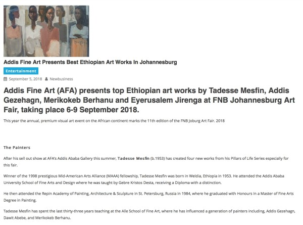 Addis Fine Art Presents Best Ethiopian Art Works In Johannesburg | New Business Ethiopia | Image