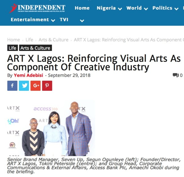 ART X Lagos: Reinforcing Visual Arts As Component Of Creative Industry | Independent Nigeria | Image