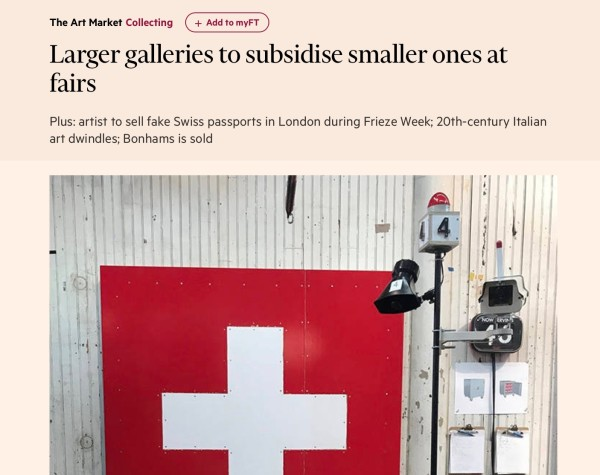 Larger galleries to subsidise smaller ones at fairs | Financial Times | Image