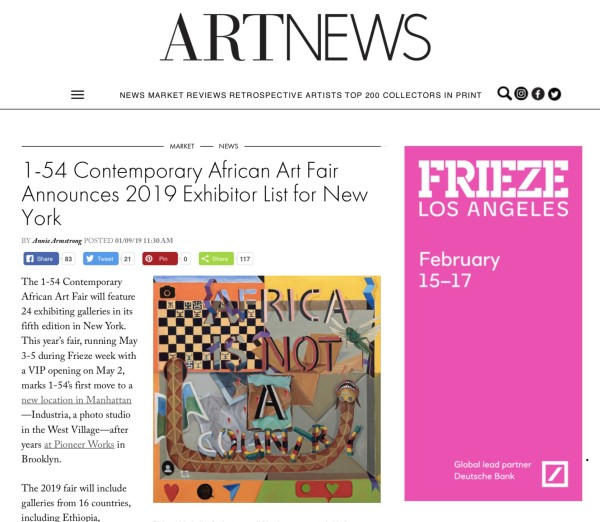 1:54 Contemporary African Art Fair Announces 2019 Exhibitor List for New York | Image