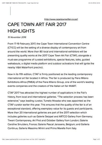 CAPE TOWN ART FAIR 2017 HIGHLIGHTS