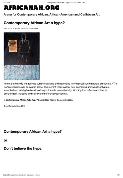 Arena for Contemporary African, African-American and Caribbean Art Contemporary African Art a hype? 4th November 2016