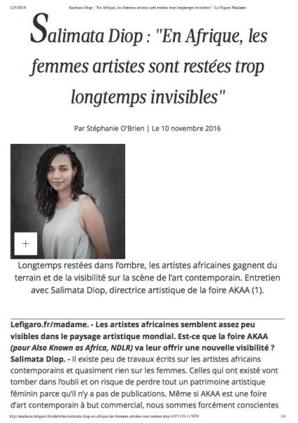 """Salimata Diop : """"En Afrique, les femmes artistes sont restées trop longtemps invisibles"""""""