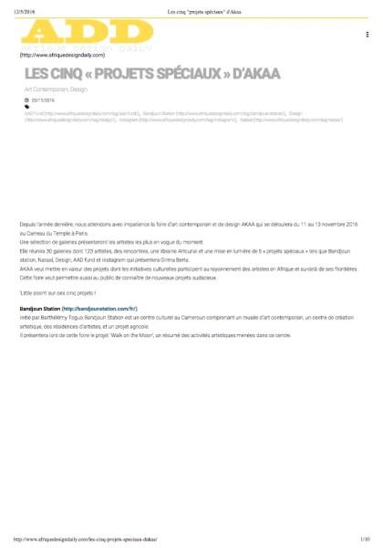 Les cinq _projets spéciaux_ d'Akaa