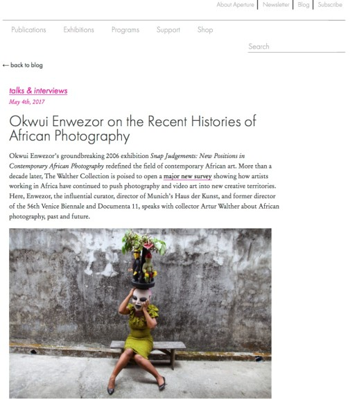 Okwui Enwezor on the Recent Histories of African Photography