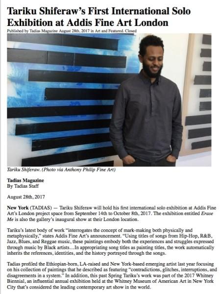 Tariku Shiferaw's First International Solo Exhibition at Addis Fine Art London
