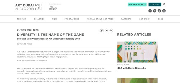 DIVERSITY IS THE NAME OF THE GAME - SOLO AND DUO PRESENTATIONS AT ART DUBAI 2018