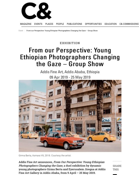 From our Perspective: Young Ethiopian Photographers Changing the Gaze – Group Show