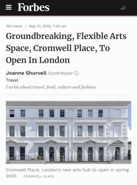 Groundbreaking, Flexible Arts Space, Cromwell Place, To Open In London