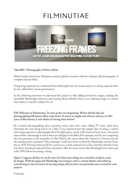 Freezing Frames: Artist Jason Shulman on photographing feature films