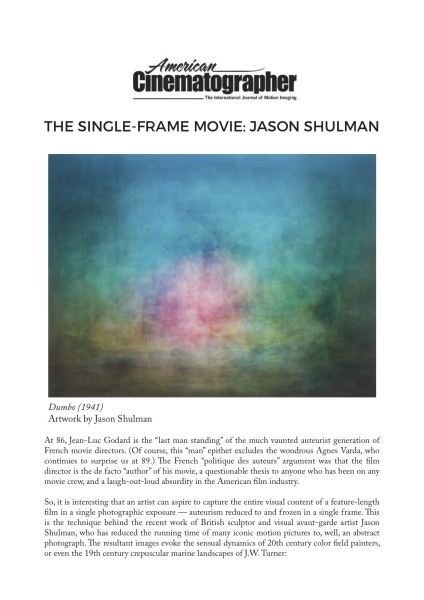 The Single-Frame Movie: Jason Shulman