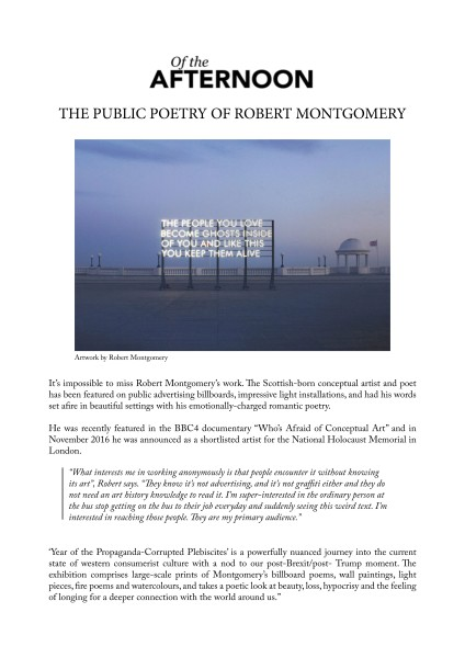 The Public Poetry of Robert Montgomery