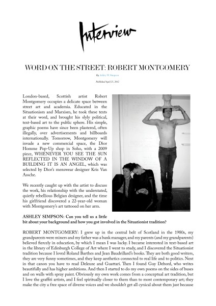 WORD ON THE STREET: ROBERT MONTGOMERY